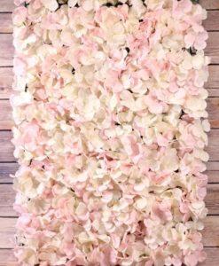 Cream & Pink Hydrandea wall panel - S10998