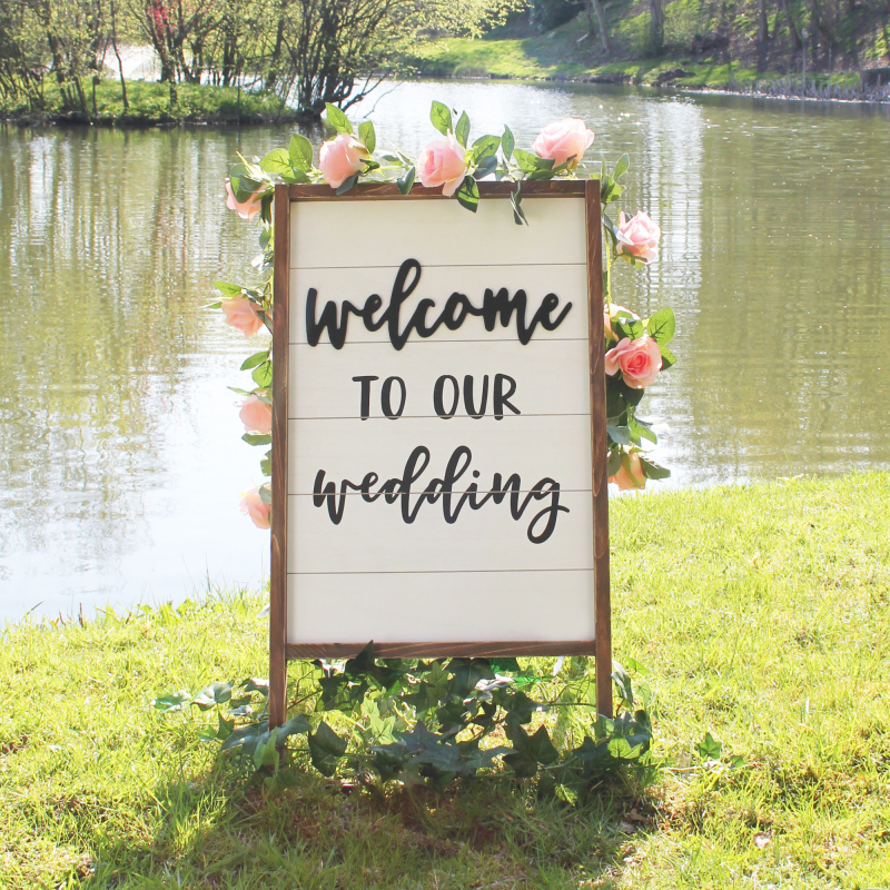 Welcome to our wedding sign – Pink Cloud Boutique